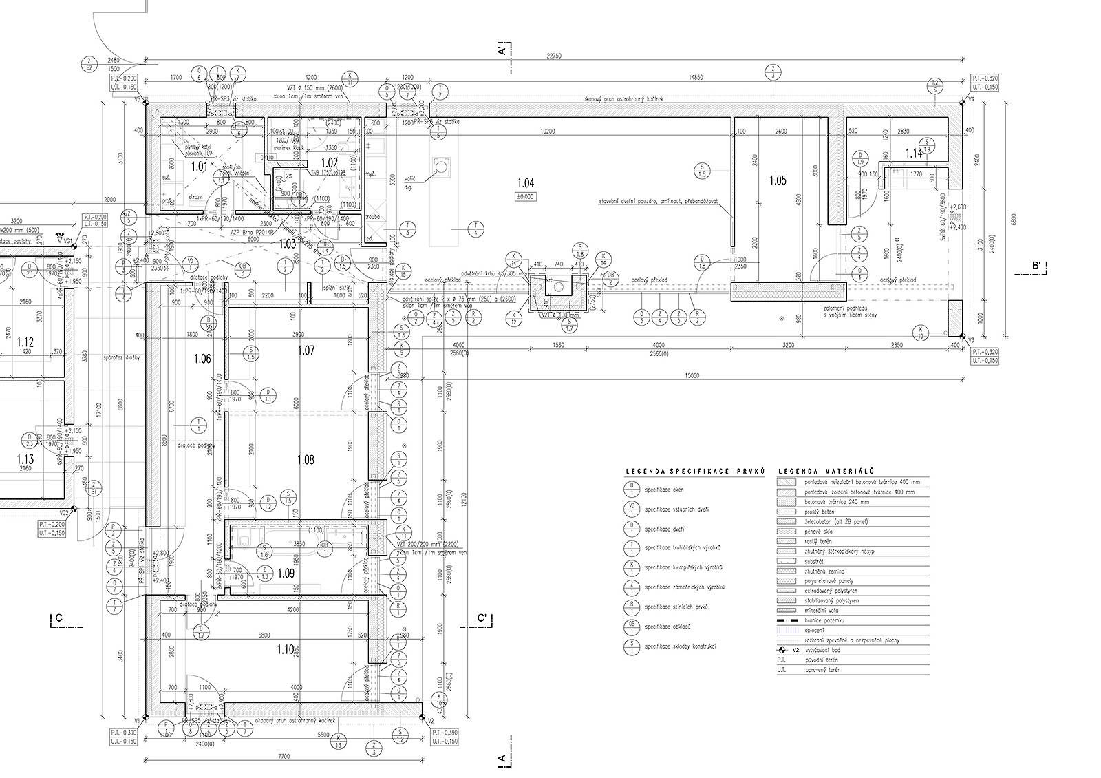Krulich Stavby Domů – technický výkres, součást stavební dokumentace