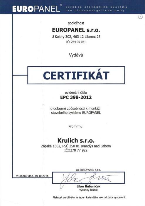 Krulich-Stavby-Domu-certifikat-EUROPANEL