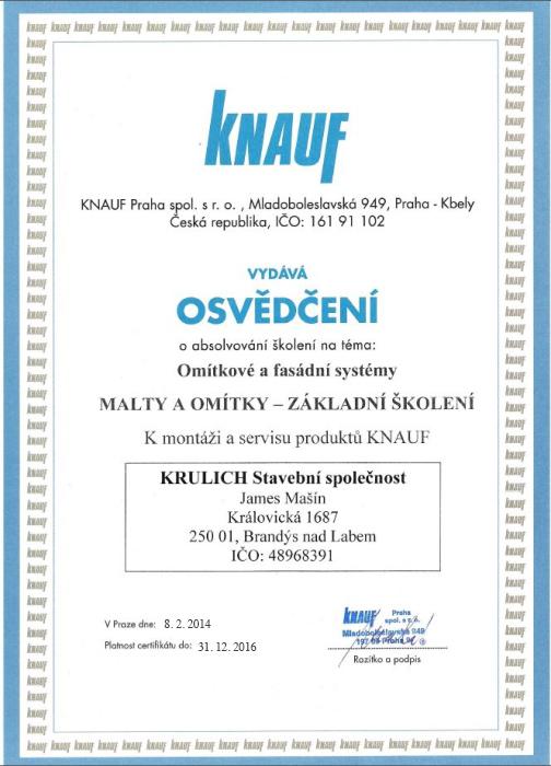 Krulich-Stavby-Domu-certifikat-KNAUF-malty-omitky-zakladni