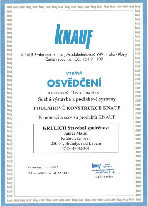 Krulich-Stavby-Domu-certifikat-KNAUF-podlahove-konstrukce