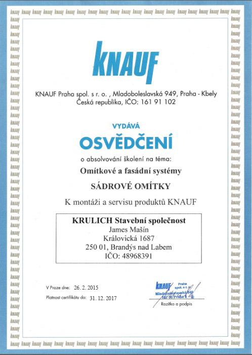 Krulich-Stavby-Domu-certifikat-KNAUF-sadrove-omitky