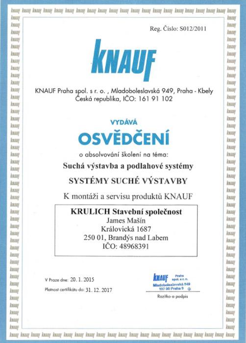 Krulich-Stavby-Domu-certifikat-KNAUF-systemy-suche-vystavby
